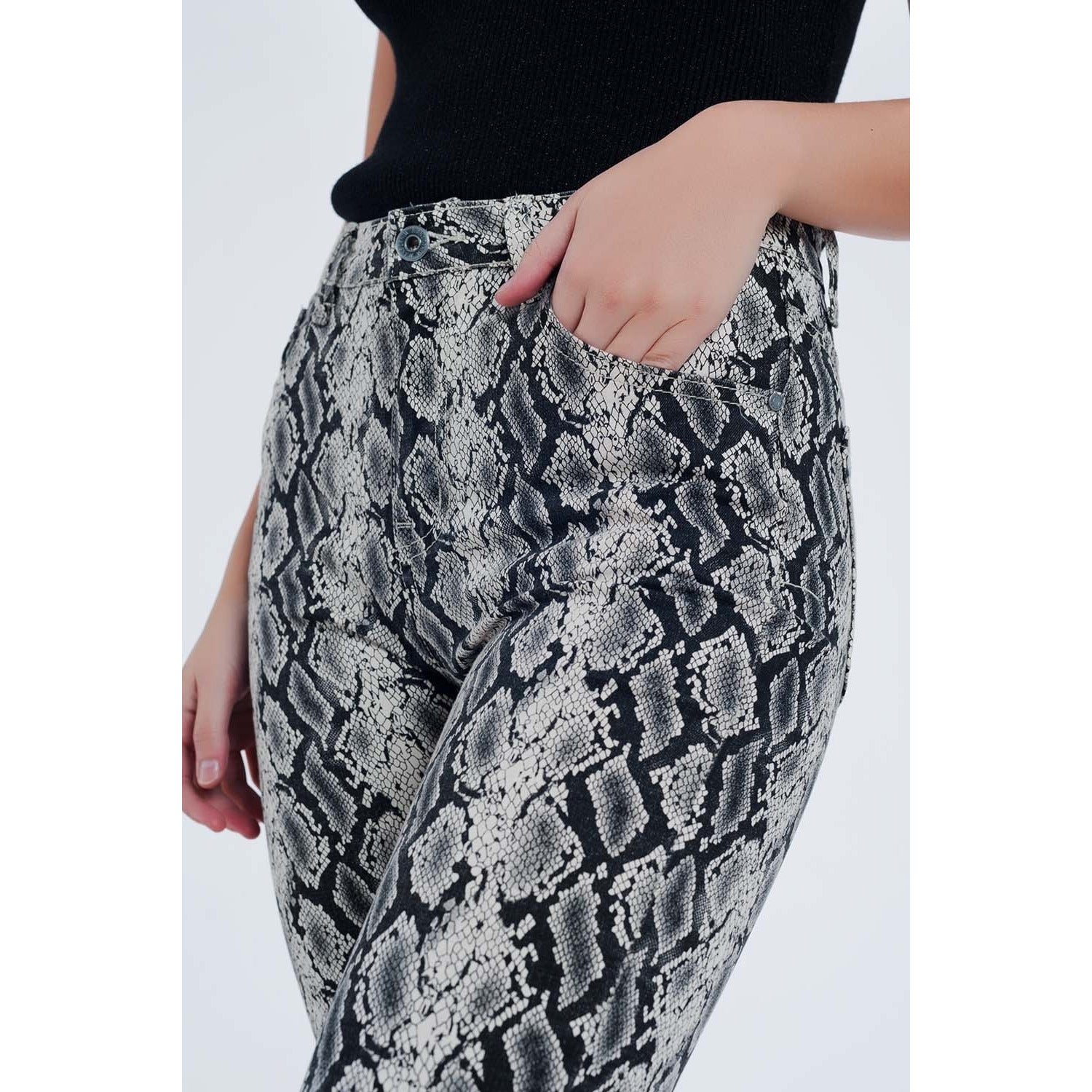 Black Stretchy Pants with Snake Print
