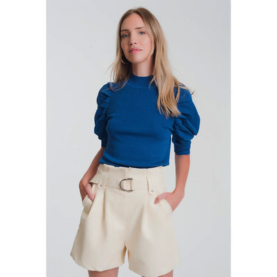 Blue Puff Sleeve Knit Sweater - Miraposa