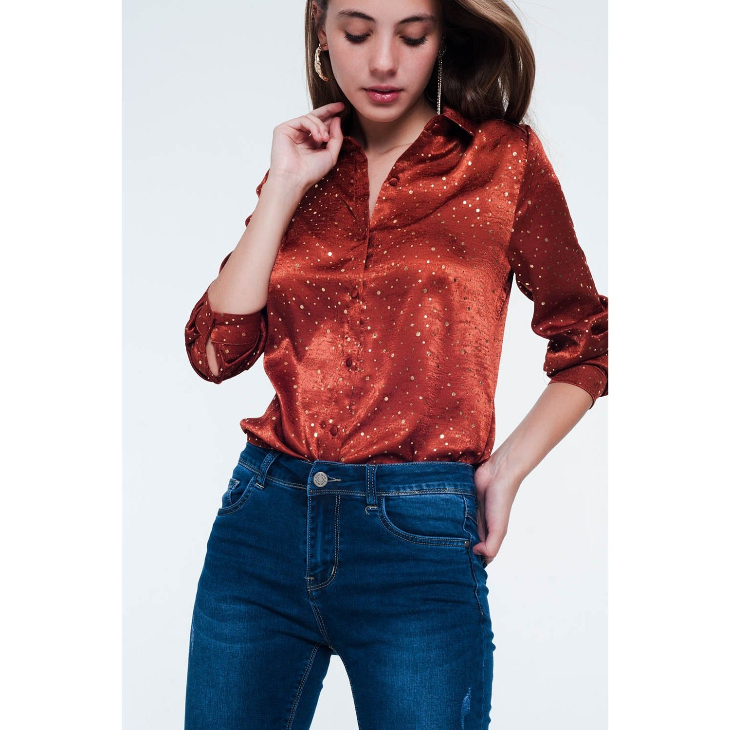 Orange Long Sleeve Blouse with Gold Spots - Miraposa