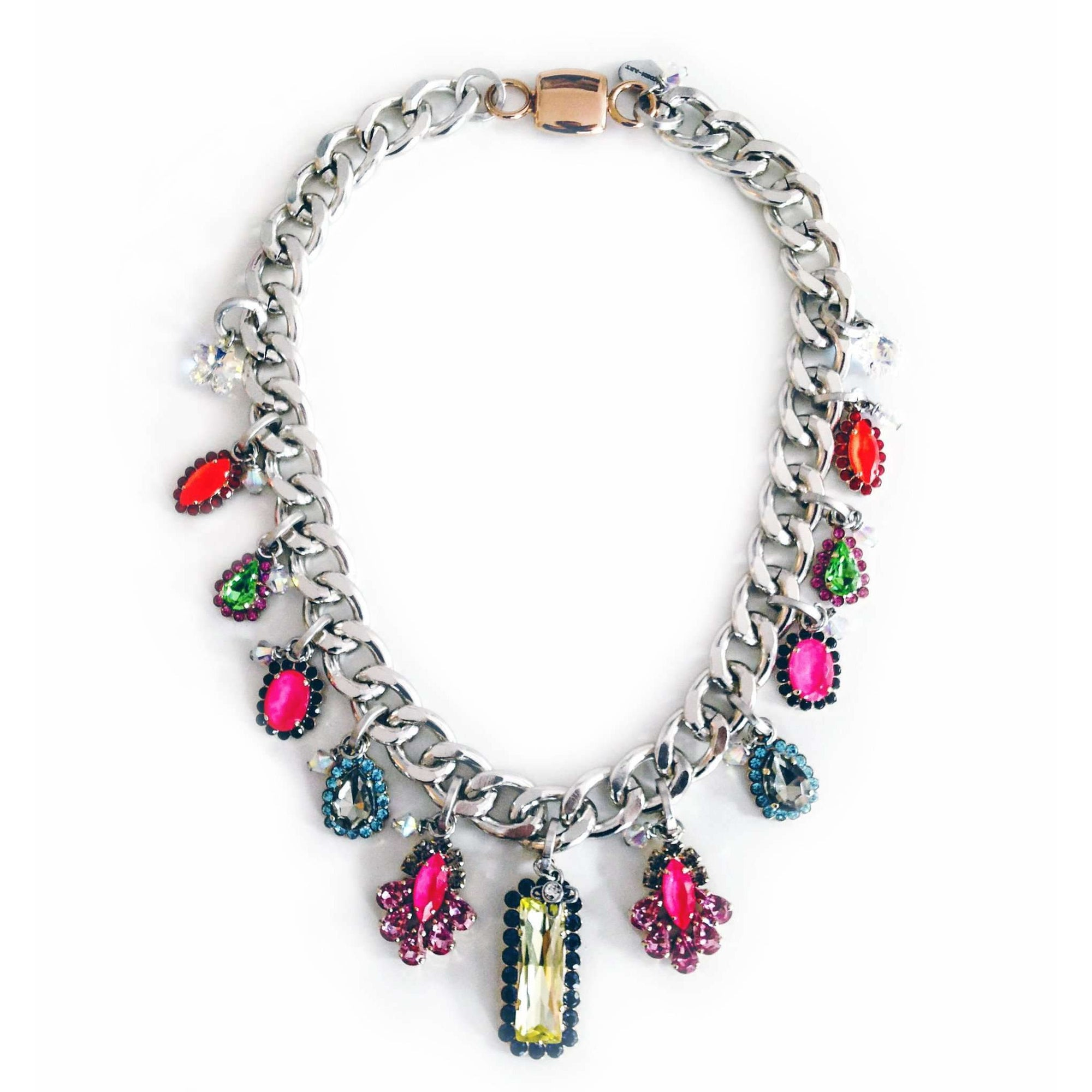 Bib Necklace With Colorful Swarovski Crystals - Miraposa