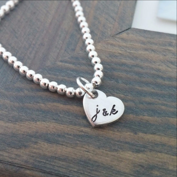 Personalized Bracelet With Hand Stamped Initials - Miraposa