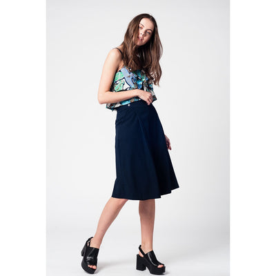 Blue Navy Pants Skirt With Silver Buttons - Miraposa