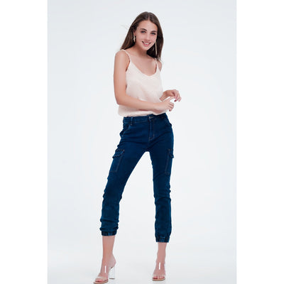 Jeans in Navy With Cargo Pockets - Miraposa