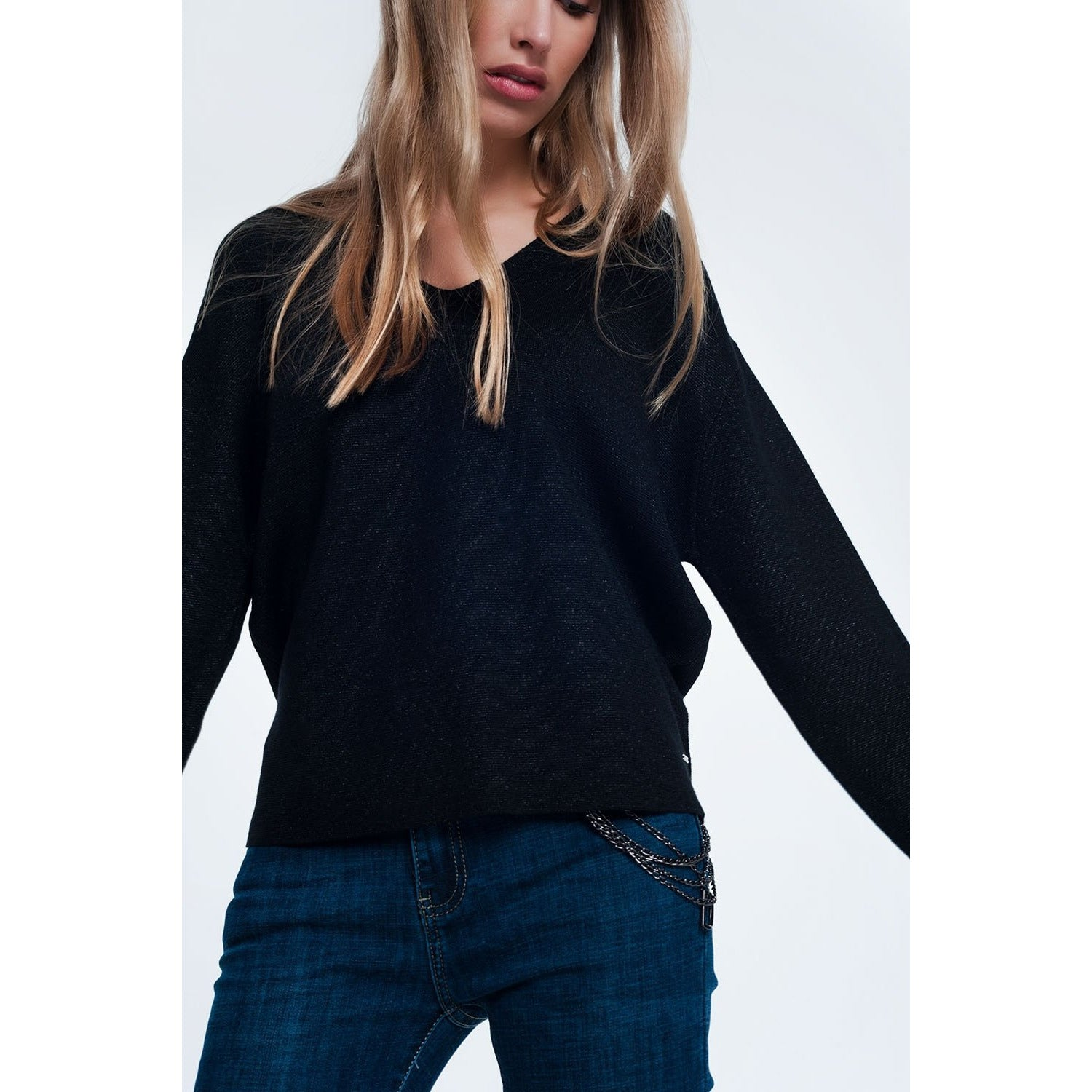 Black Glitter Sweater With V-Neck - Miraposa