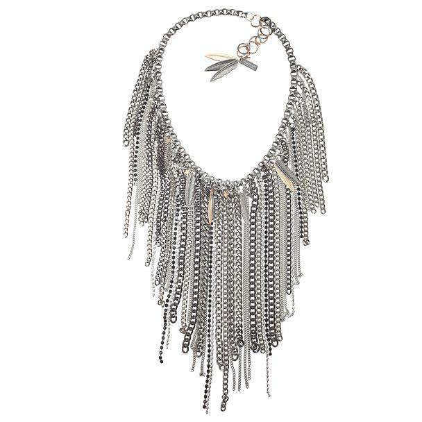 Chain Fringe Necklace with Antique Silver and Brass Chains, Studs, Swarovski Crystals and Charms - Miraposa