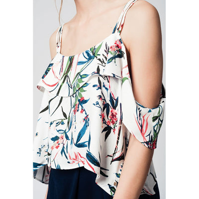 Cold Shoulder Top with Blue Leaves Print - Miraposa