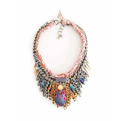 Multi Strand Necklace With Big Pink Agate Stone and Suede Leather - Miraposa