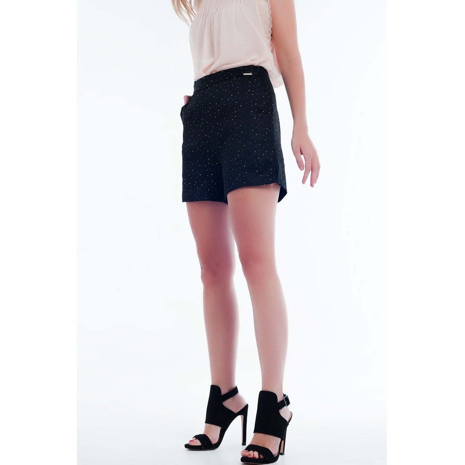 Embellished High Waist Short in Black and Gold - Miraposa