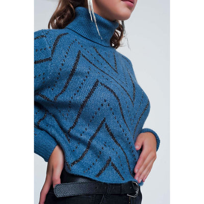 Woven Blue Turtleneck Sweater - Miraposa