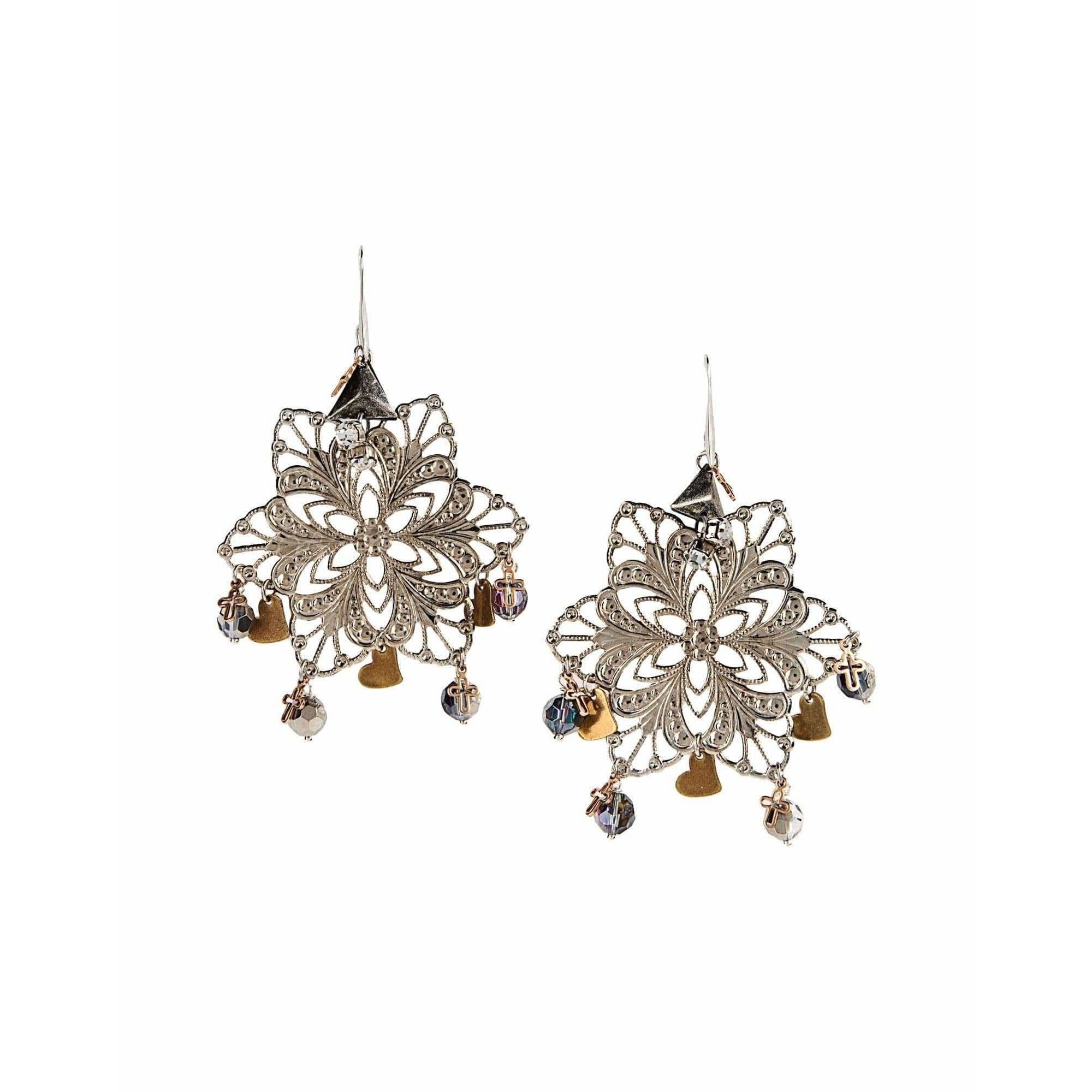 18kt Gold Plated and Silver Plated Chandelier Earrings With Crystals and Beads - Miraposa