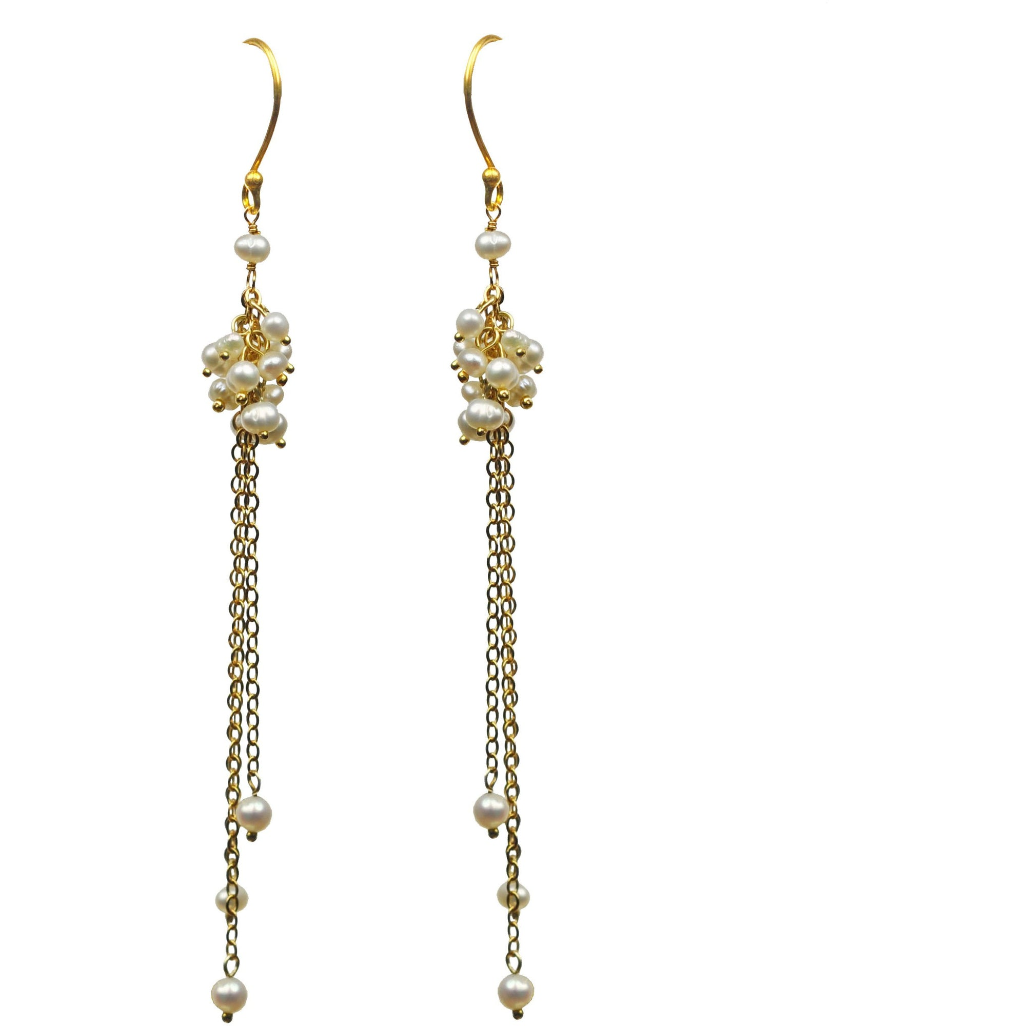 Pearl Cluster Vermeil Earrings - Miraposa