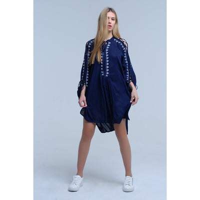 Navy Blue Embroidered Dress With Open Sleeve Detail - Miraposa