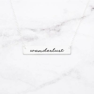 Wanderlust - Gold Quote Bar Necklace - Miraposa