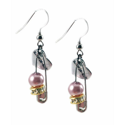 Silver Safety Pins, Pearls and Crystals Earrings - Miraposa