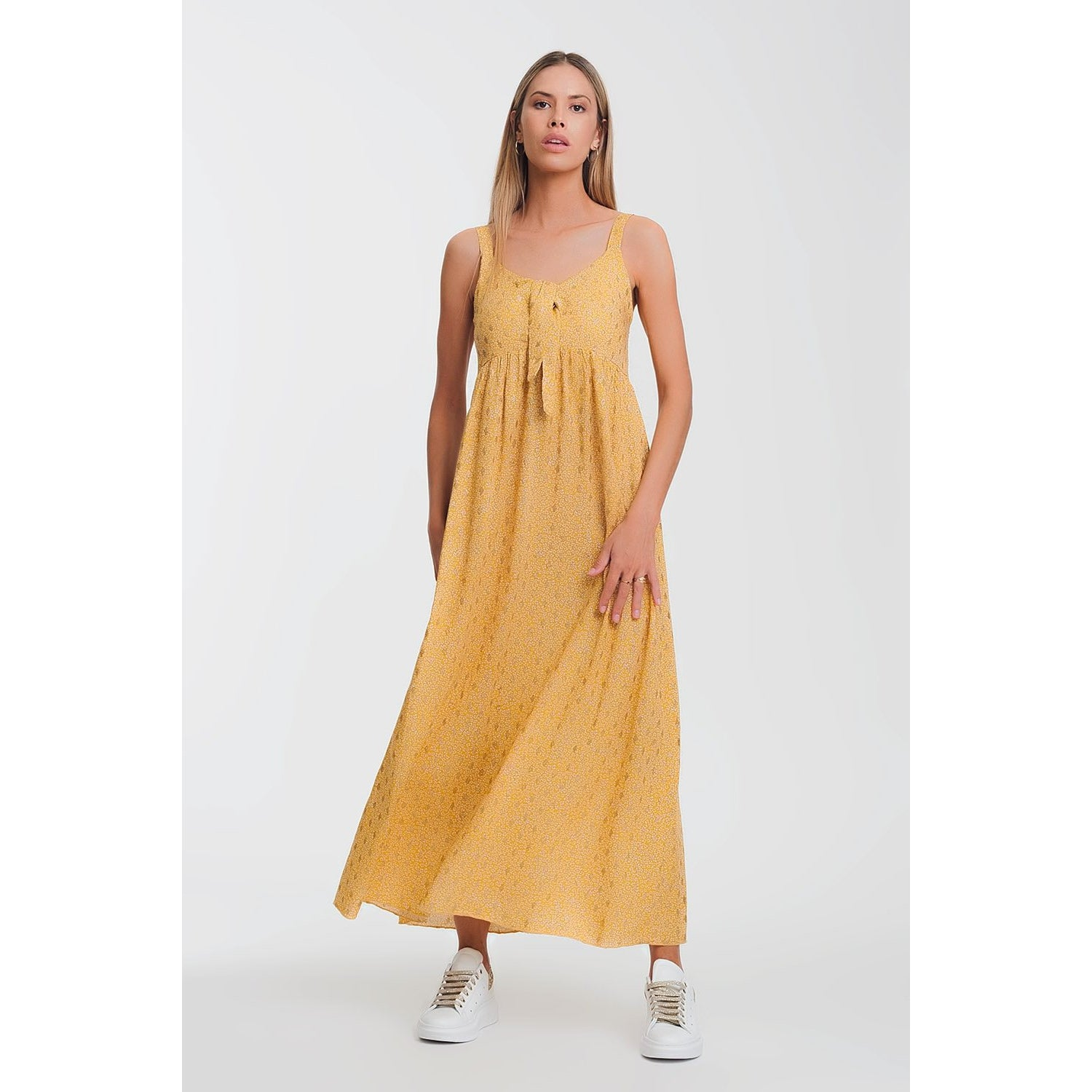 Tie-Front Maxi Yellow Dress in Floral Print - Miraposa