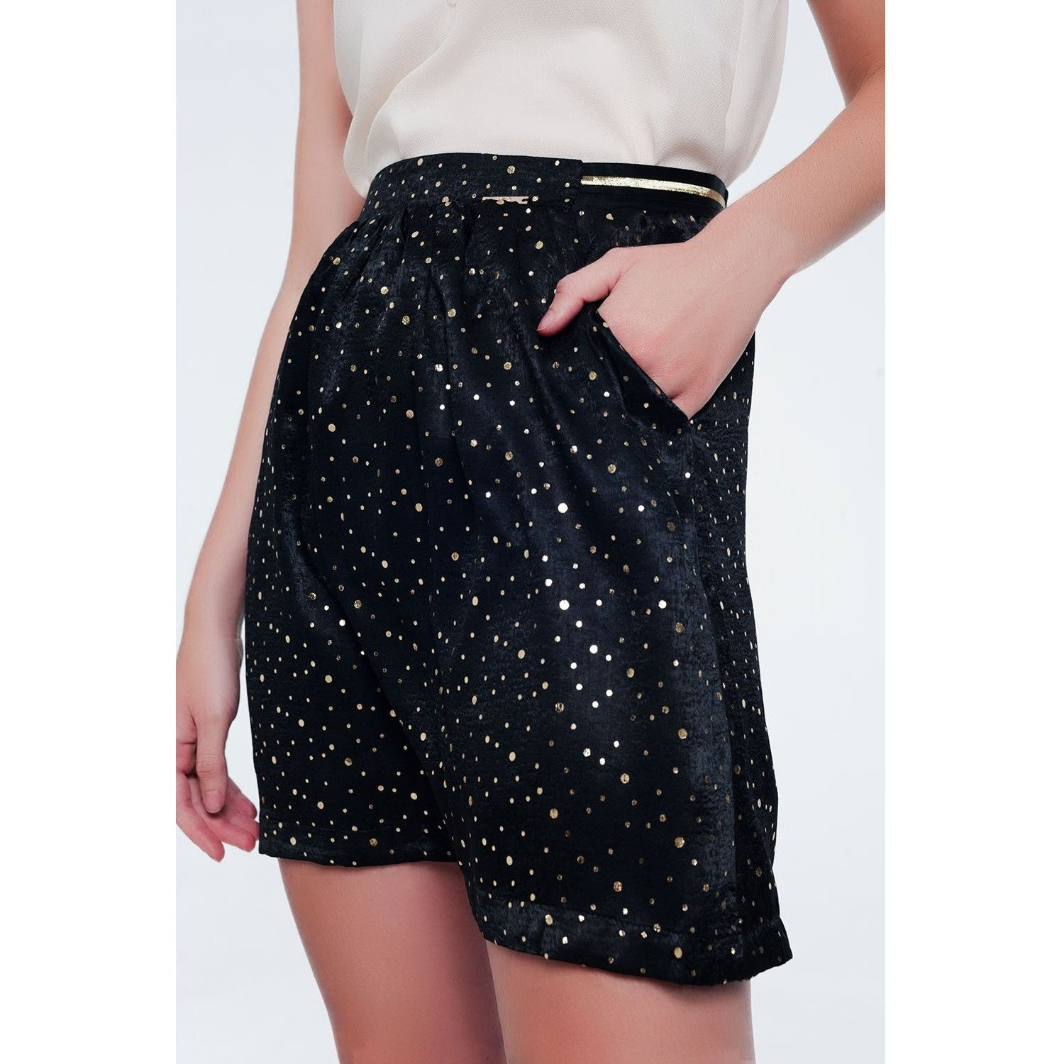Black Mini Skirt with Gold Polka Dots