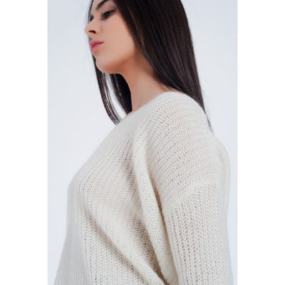 Cream Colored Sweater With V-Neck - Miraposa