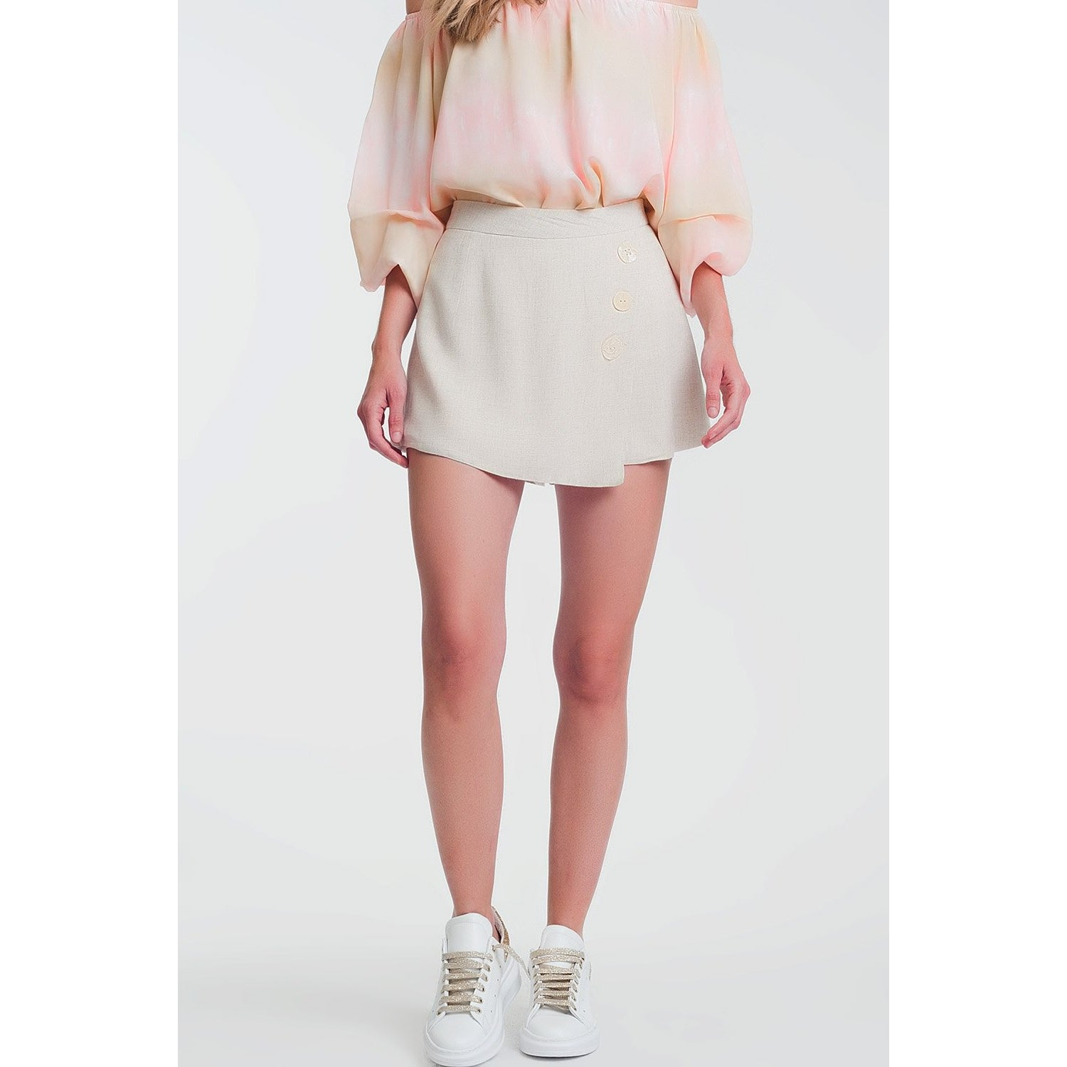 Beige Skorts With Button Detail