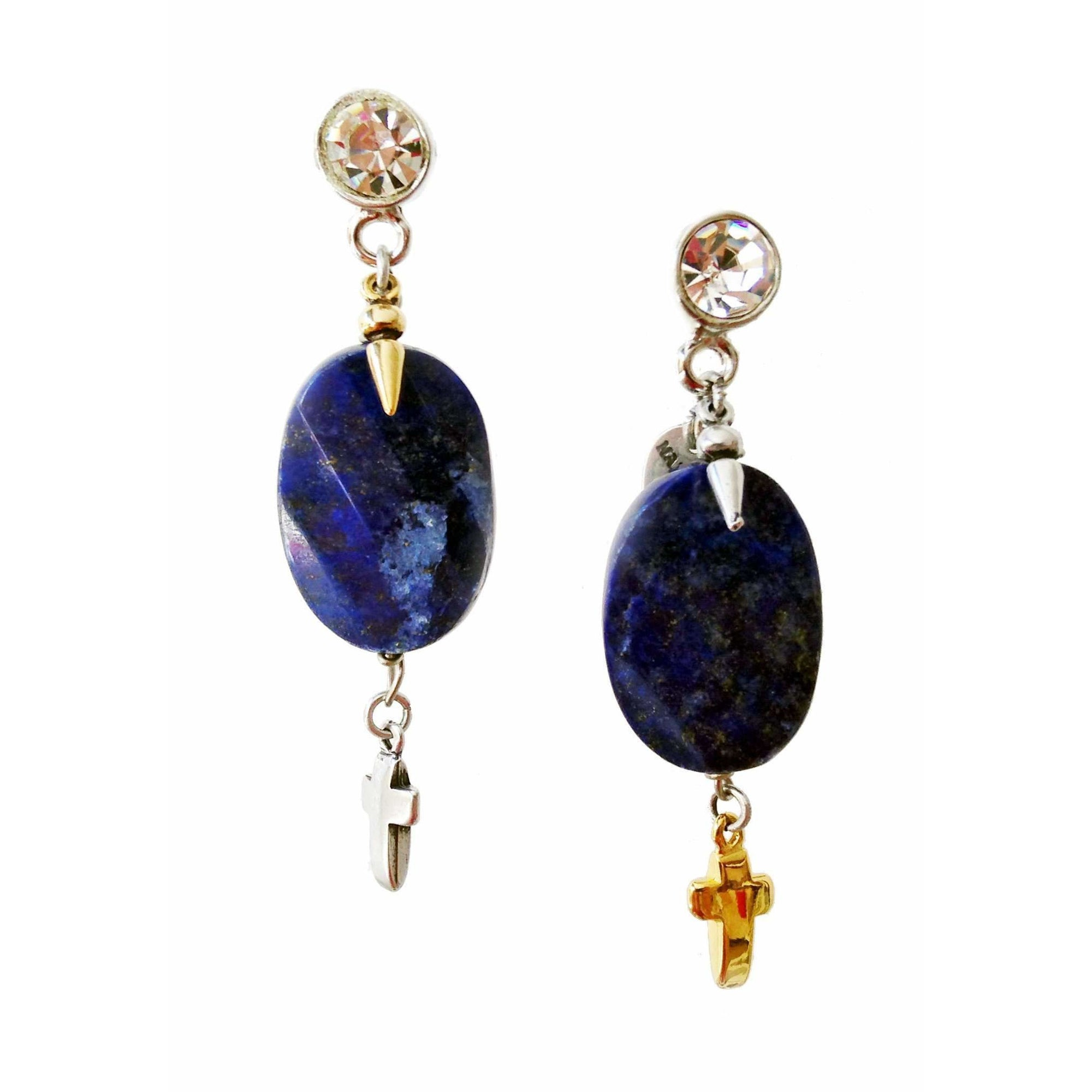 Dangle and Drop Earrings With Blue Lapis Lazuli Stones, Rhinestones, Brass and Charms - Miraposa