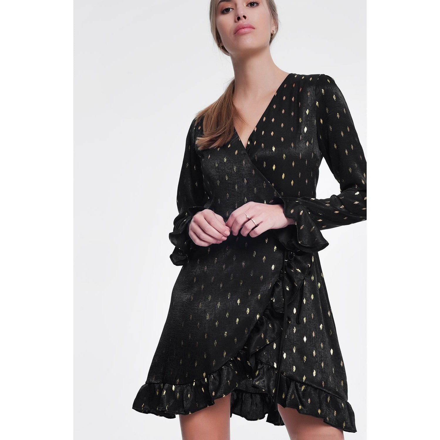 Black Dress With Gold Shiny Spots