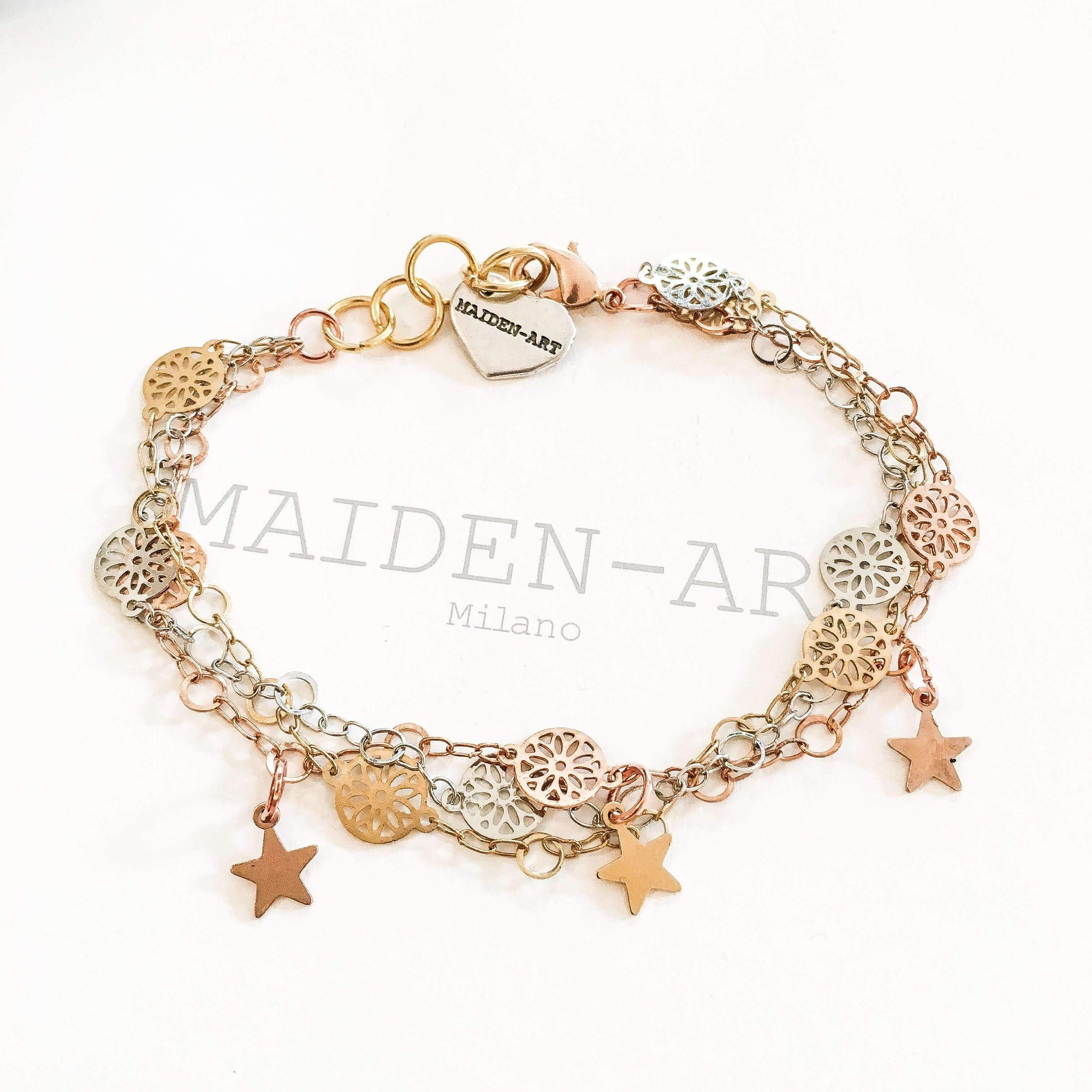 Lucky Charm Star Bracelet in 18kt Gold Plated, Rose Gold and Silver Plated Brass. - Miraposa