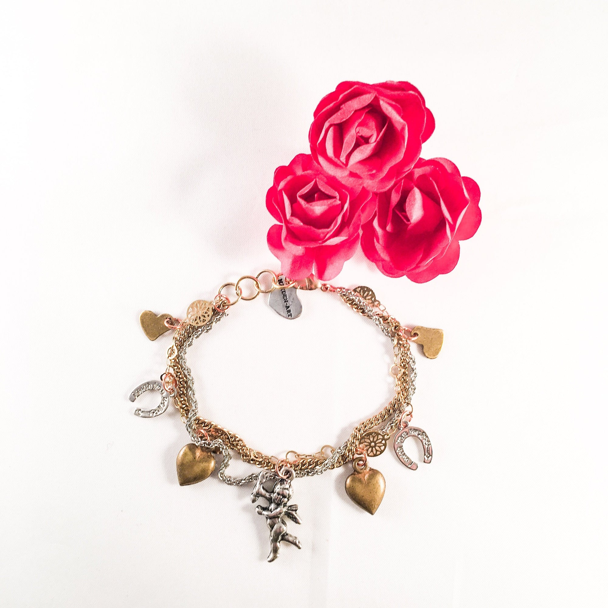 Heart and Cherub Multi-Charms Bracelet - Miraposa
