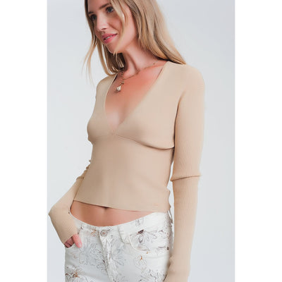 V Neck Ribbed Sweater in Beige - Miraposa