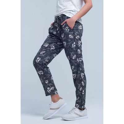 Black Pants With Floral Print - Miraposa