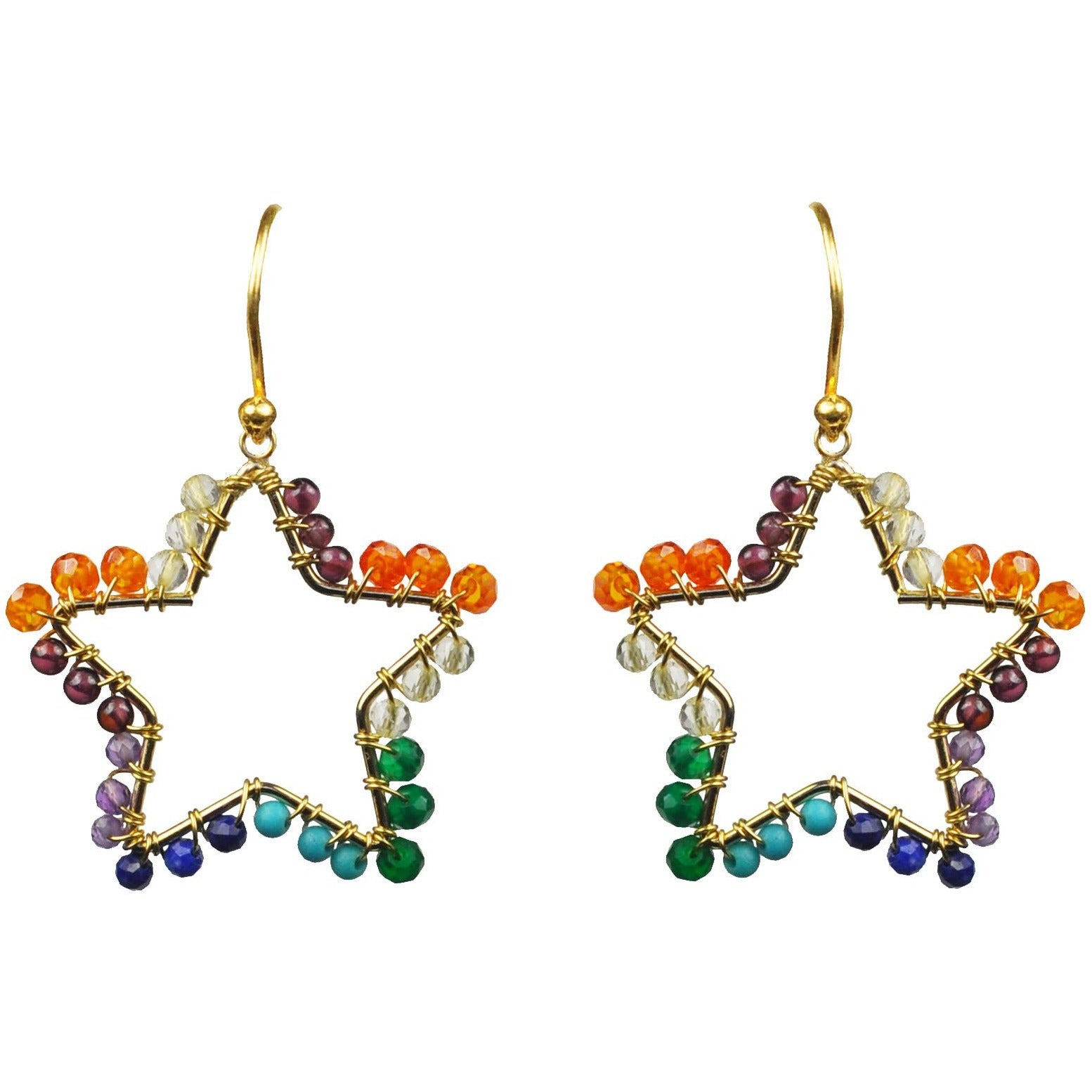 Chakra Star Vermeil Earrings - Miraposa