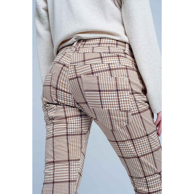 Pants in Beige Check With Button - Miraposa