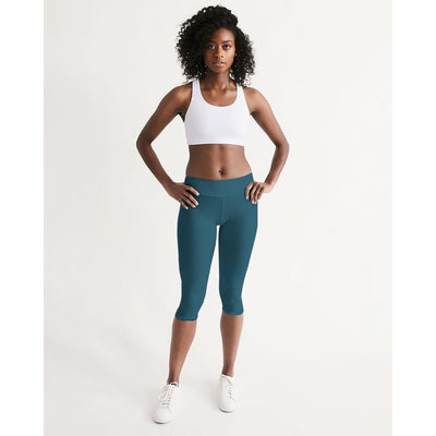 Women's Active Comfort Pacific Supply Solid Teal Mid-Rise Capri Leggings - Miraposa
