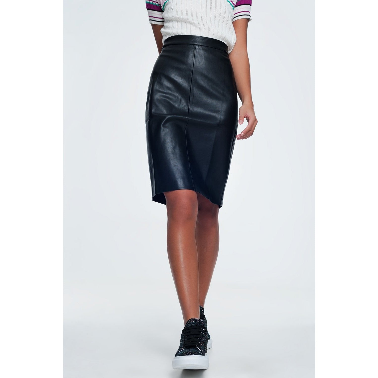 Black Faux Leather Pencil Skirt - Miraposa