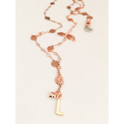 Initial Long Necklace - Rose Gold - Miraposa