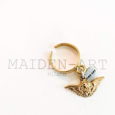 Lucky Charm Cherub Ring in 18kt Gold Plated Brass. Angel Ring. - Miraposa