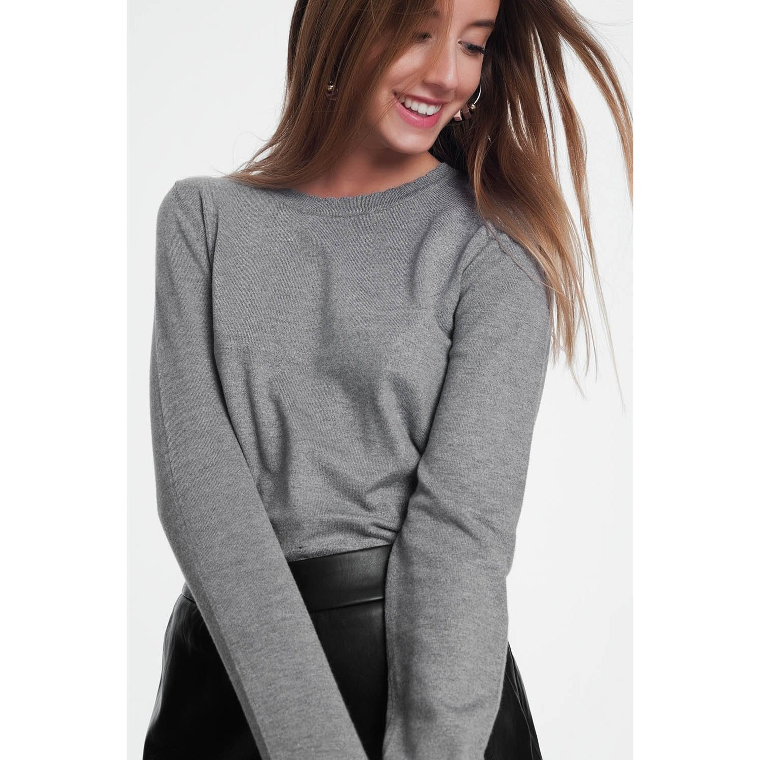 Grey Sweatshirt With Round Neckline - Miraposa