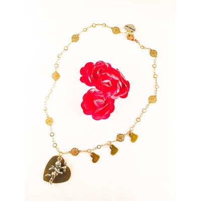 Silver Cherub Bronze Heart Charm Necklace with 18k Gold Plated Flower Chain and 3 Small Hearts Charms - Miraposa