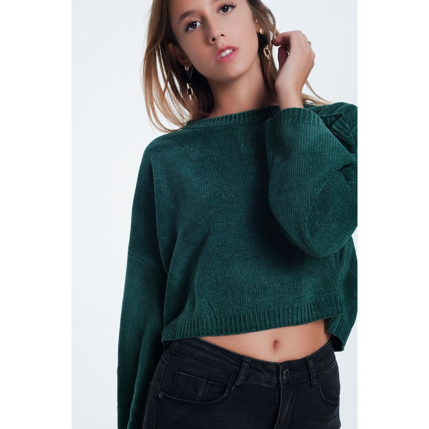 Flare Sleeve Sweater in Green - Miraposa