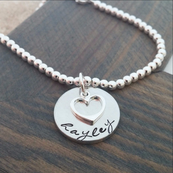 Personalized Bracelet With Hand Stamped Name and Charm - Miraposa
