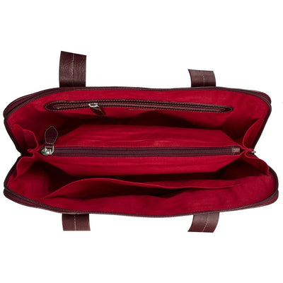 Cery Leather Multi-Compartment Tote - Burgundy - Miraposa