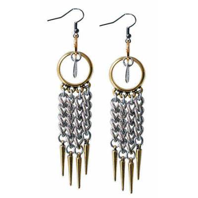 18kt Gold Plated and Silver Plated Chandelier Earrings With Studs. - Miraposa