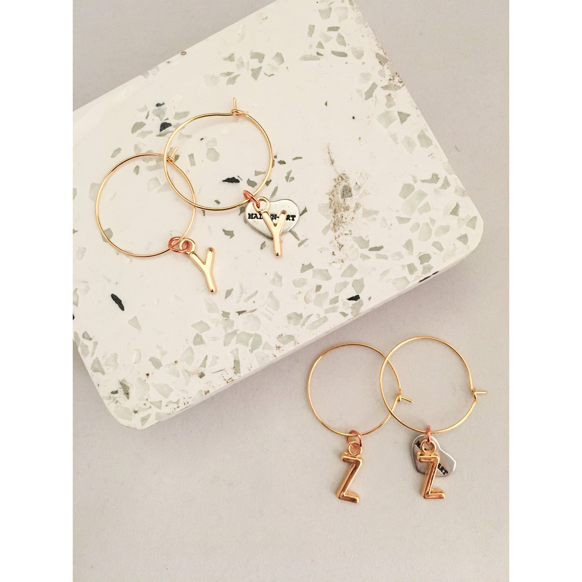 Initial Hoop Earrings Gold. Letter Hoop Earrings Gold - Miraposa