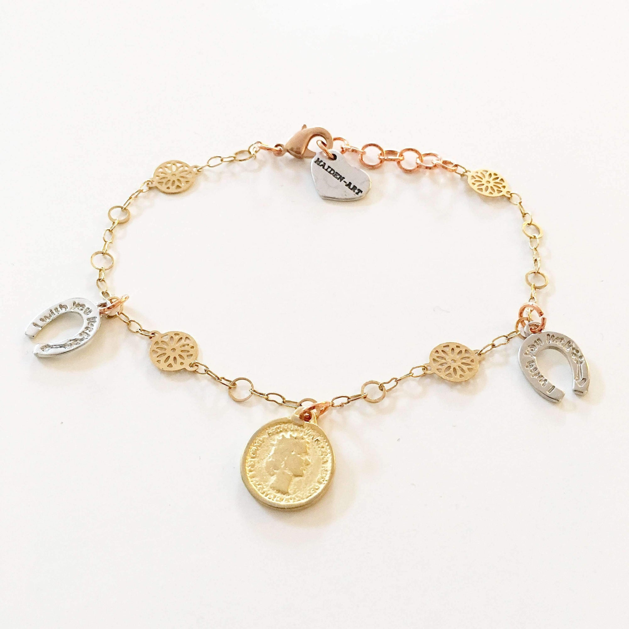 Coin and Horseshoes Sparkle Bracelet in 18kt Gold Plated. - Miraposa