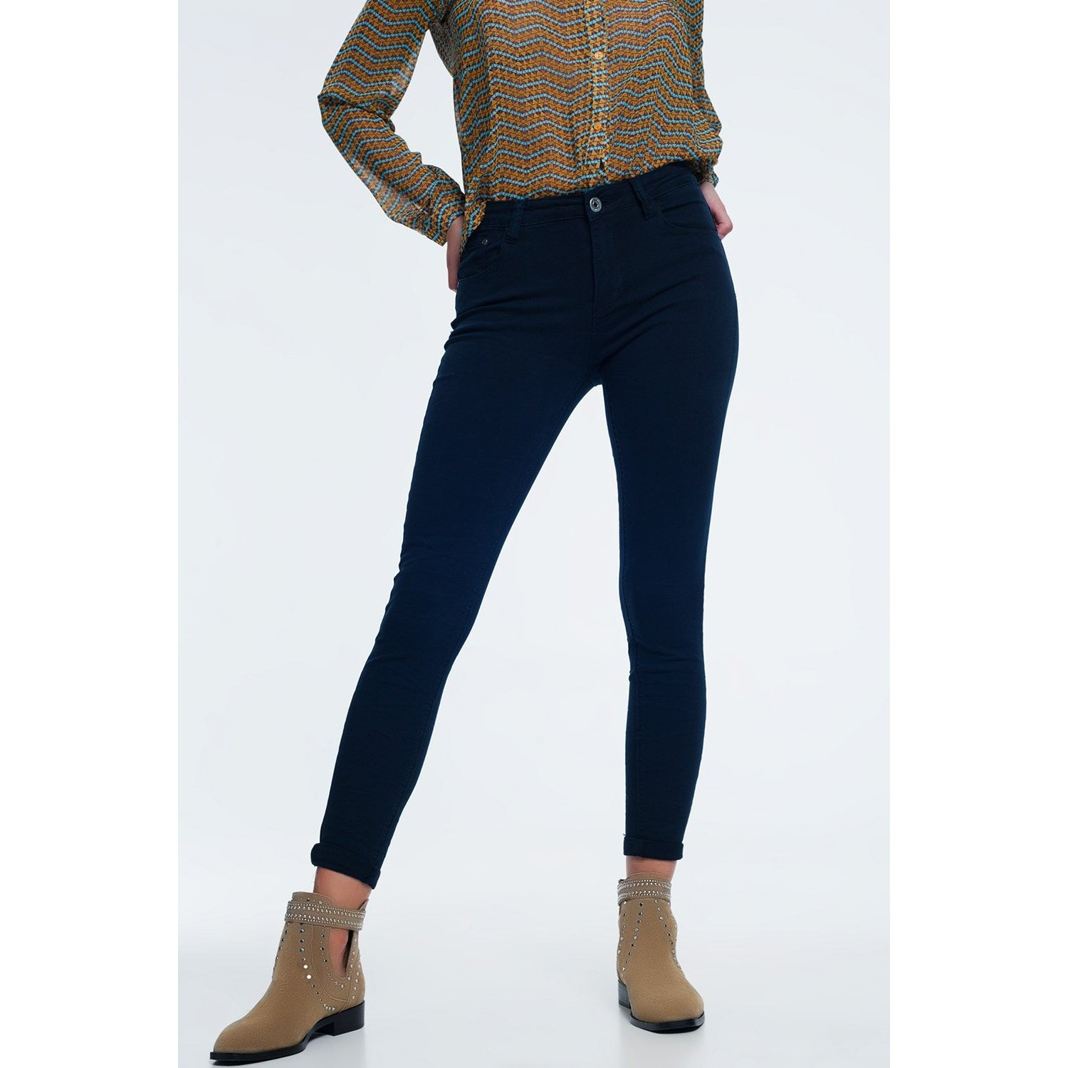 High Waist Skinny Jeans with Stretch in Navy - Miraposa
