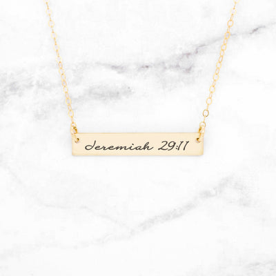 Jeremiah 29:11 Necklace - Gold Bar Necklace - Miraposa