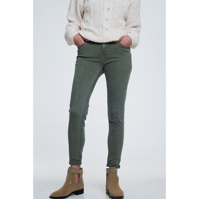High Waisted Skinny Jeans in Khaki - Miraposa