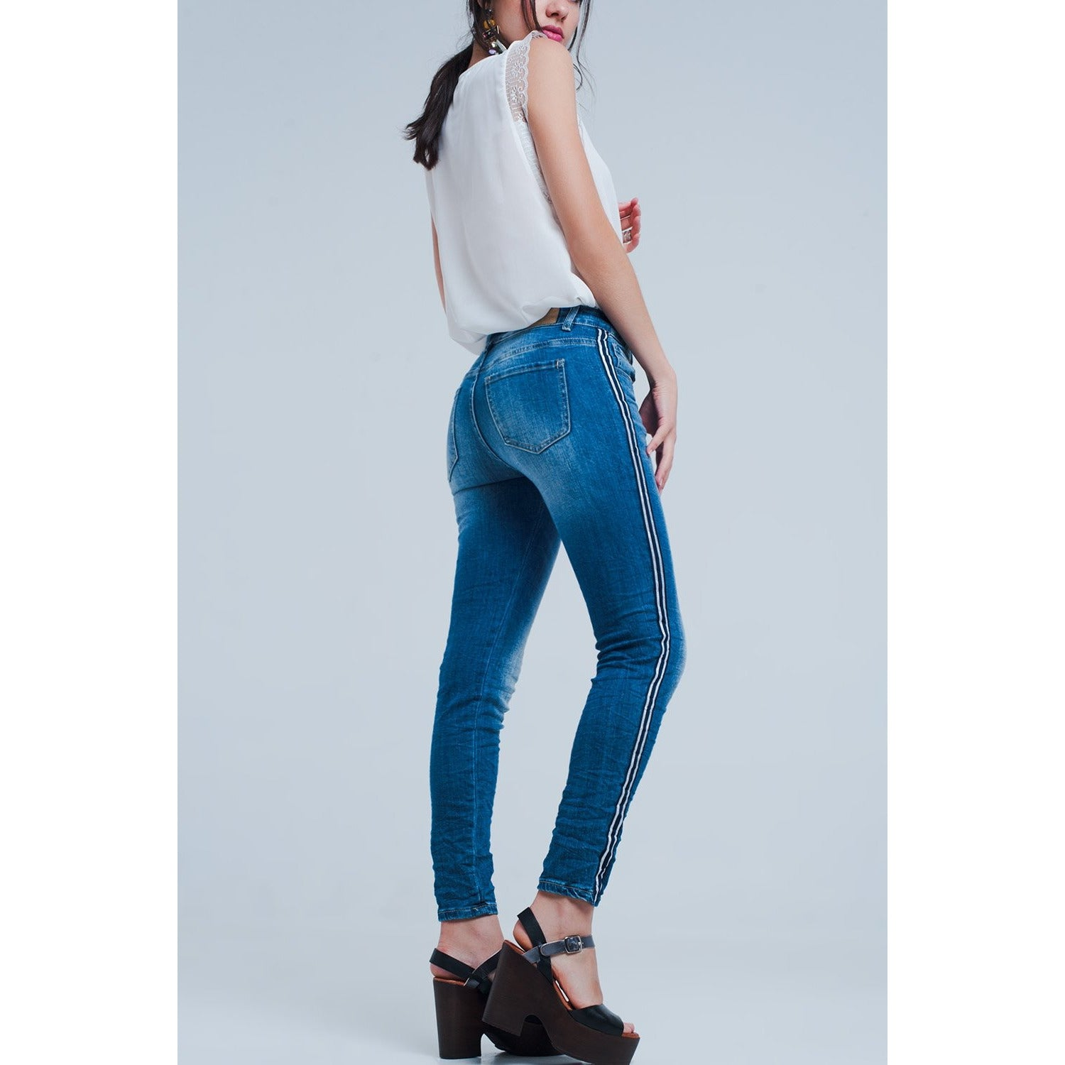 Skinny Jeans With Side Stripe - Miraposa
