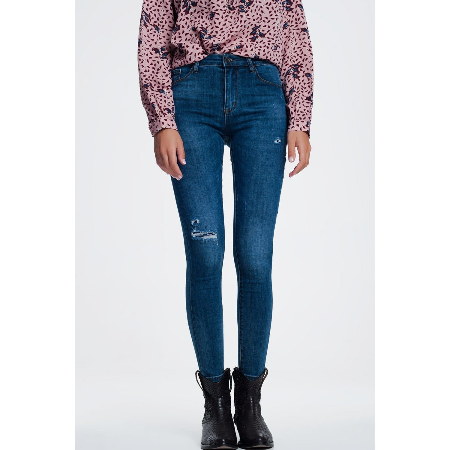 Ripped Skinny Jeans in Blue Denim - Miraposa