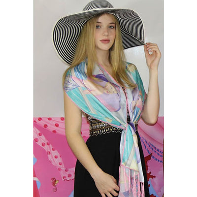 Silk Scarf Palm Beach Purple Printed Silk Satin Scarf With Fringe - Miraposa