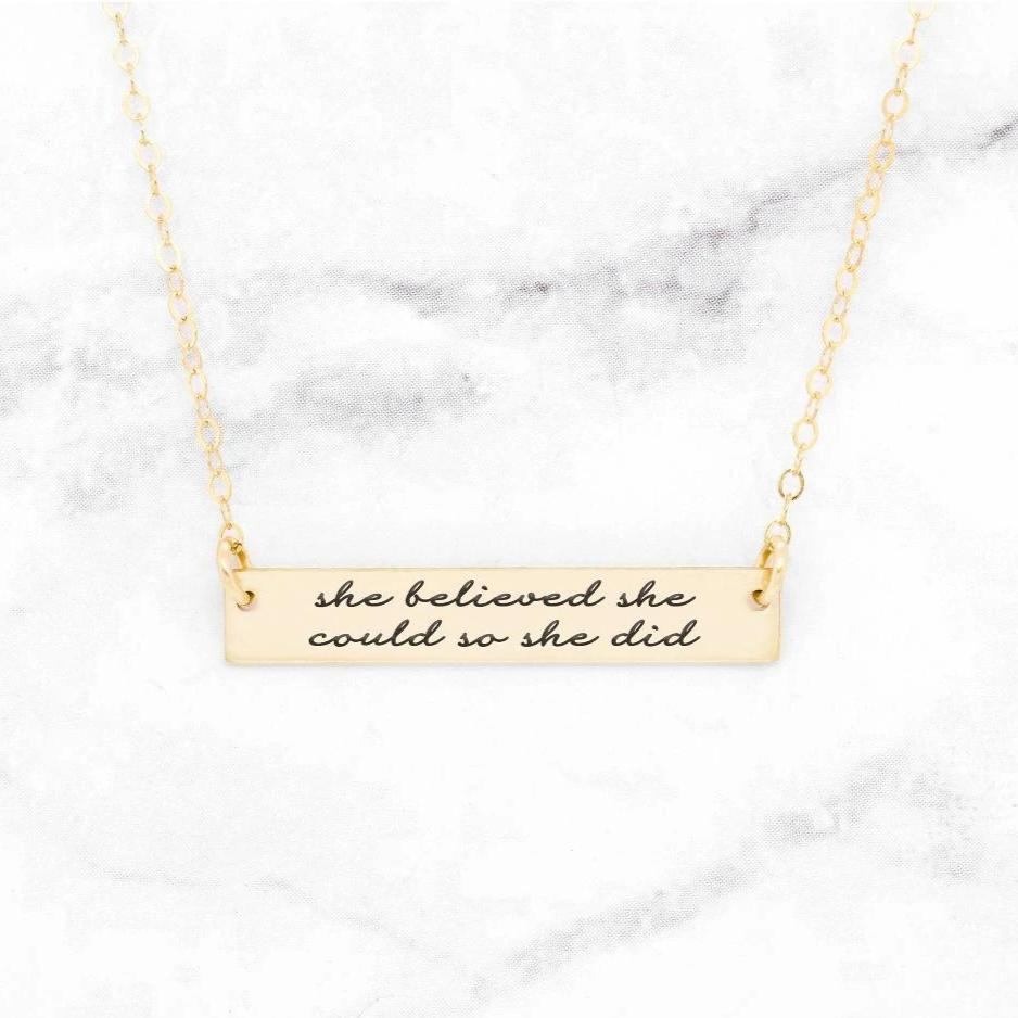 Horizontal Bar Necklace, Personalize