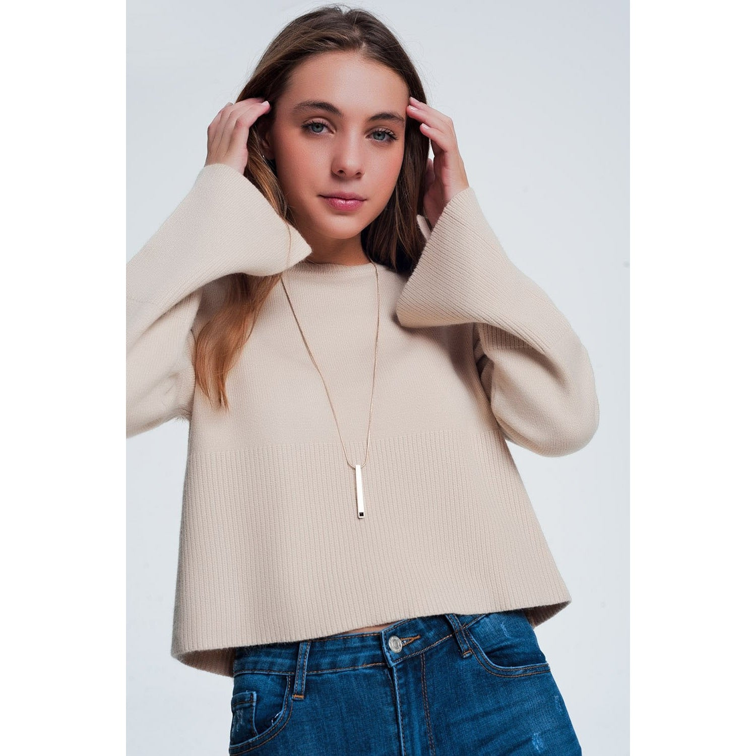 Beige Sweater With Long Sleeves - Miraposa